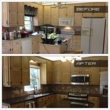 2012 Lawing Marble Kitchen Cooke Family Install Before After